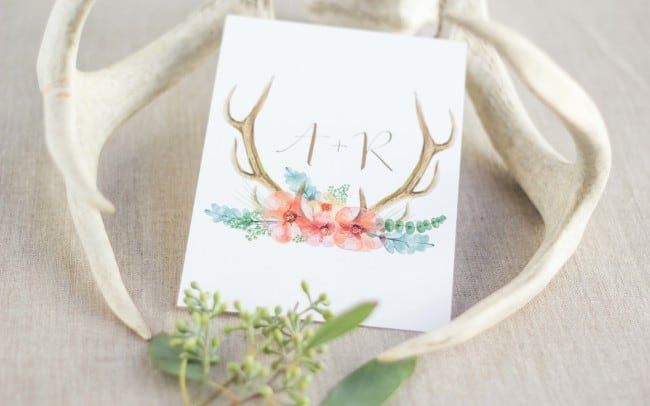 Rustic, antler, wedding invitations, watercolor invitations, By Feathered Heart Prints, Photography by Kimbrough Daniels