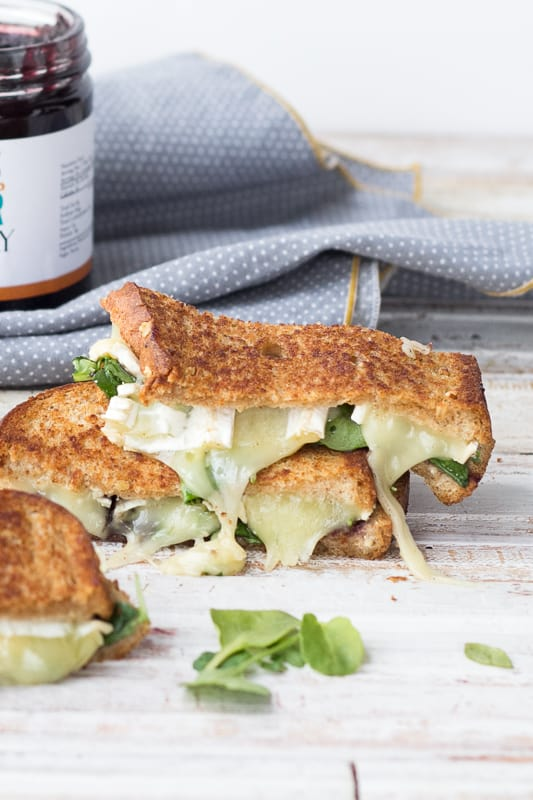 Fancy Grilled Cheese: Brie with Jam and Watercress